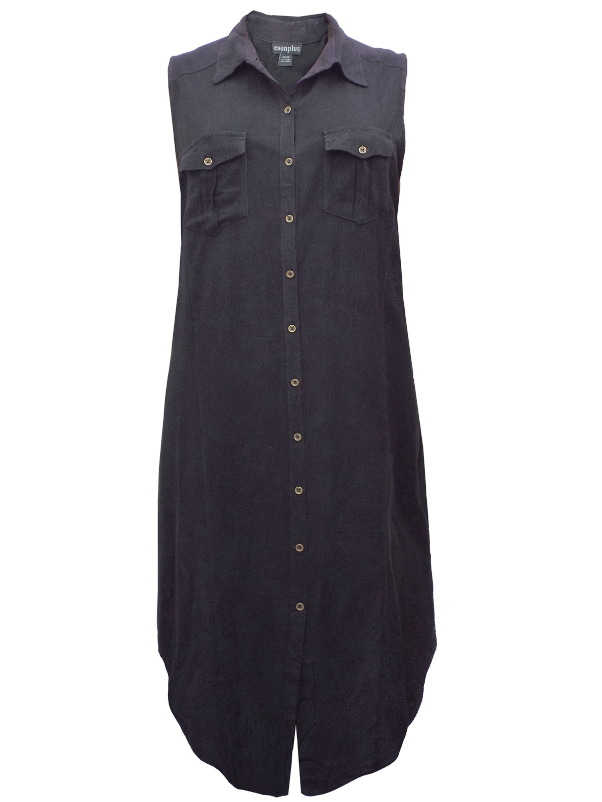 Sleeveless Collared Shirt Dress Couture Dame